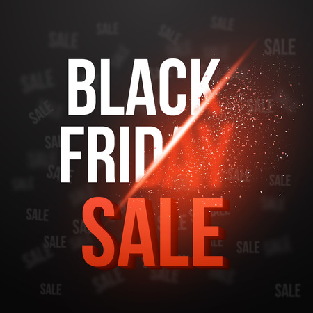 Illustration of Black Friday Sale Vector Exlosion Poster Template. Huge November 27th Sale Background