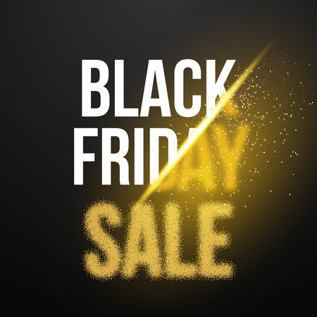 Illustration of Black Friday Sale Gold Explosion Poster. Black Friday Blackwork Halftone Effect