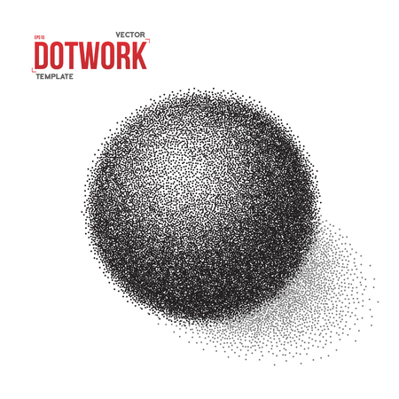 3d  ball: Illustration of Halftone 3D Ball template. Dotwork Tattoo Style 3D Ball