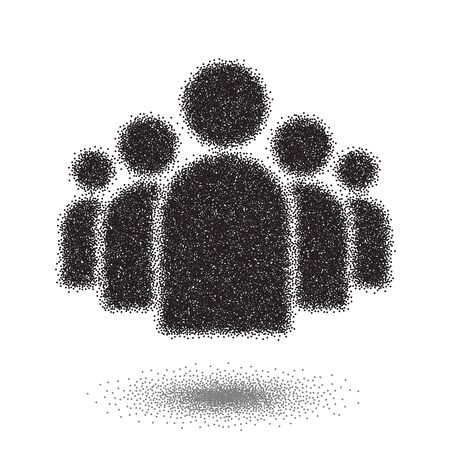 managment: Illustration of Group of People Dotwork Style Icon. Halftone Group of People. Managment Vector Icon