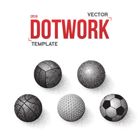 football ball: Illustration of Set of Sport Balls Made in Dot work Style Halftone Ball Set Illustration