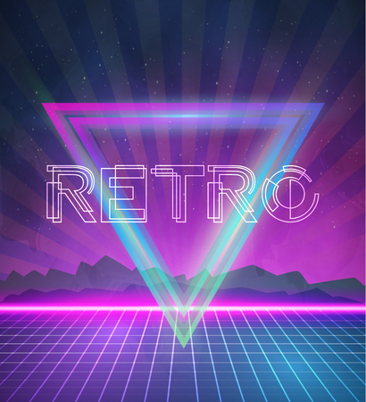 Illustration of 1980 Neon Poster Retro Disco 80s Background made in Tron style with Triangles.