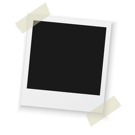 cintas: Ilustración del marco de la foto de la vendimia Sticked en cinta para conductos para el fondo. Marco de fotos retro fotorrealista Vectores