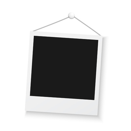 Illustration of Vintage Photo Frame Sticked to Wall Isolated on White Background. Retro Photorealistic Photo Frame Illustration