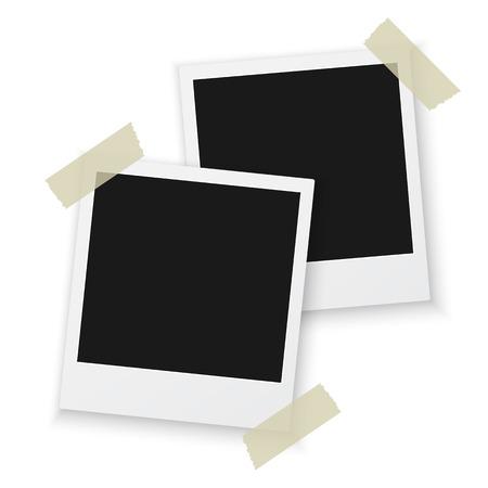 Illustration of Vintage Photo Frame Sticked on Duct Tape to Background. Retro Photorealistic Photo Frame