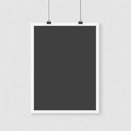 poster template: Illustration of Photo realistic Poster Template. Realistic Vertical Poster with Clips on a Textured Wall