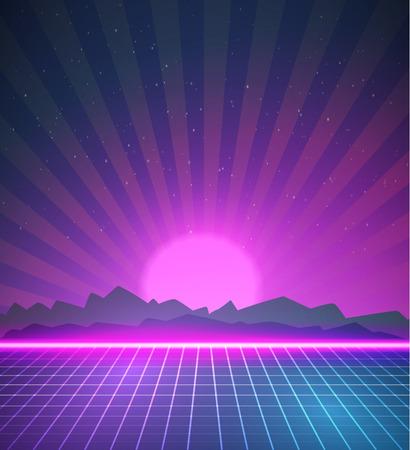 party dj: Ilustración de 1980 de neón Cartel Retro Disco 80 Fondo hecho en estilo Tron con bengalas, Estrellas Foto de archivo