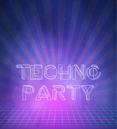 '80s: Illustration of 1980 Neon Techno Poster Retro Disco 80s Background made in Tron style Illustration
