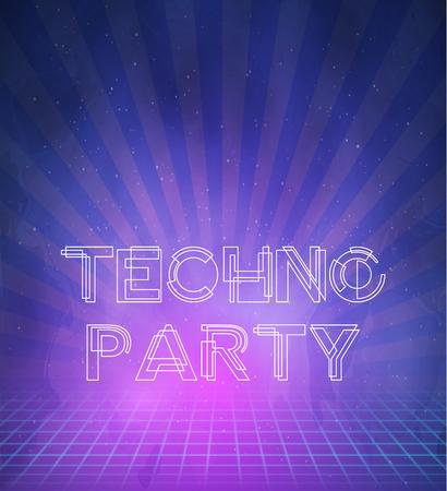 tron: Illustration of 1980 Neon Techno Poster Retro Disco 80s Background made in Tron style Illustration
