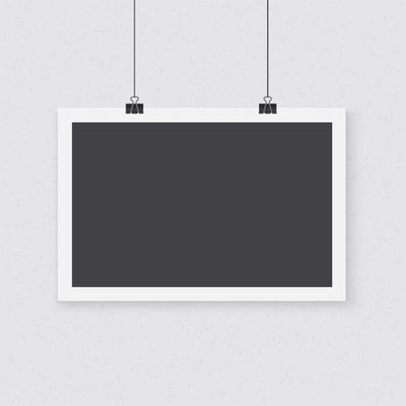 poster template: Illustration of Photo realistic Poster Template. Realistic Horizontal Poster with Clips on a Textured Wall Vettoriali