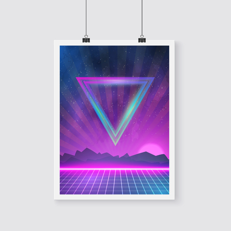 tron: Illustration of Retro Disco 80s Neon Poster made in Tron style with Triangles, Flares, Particles