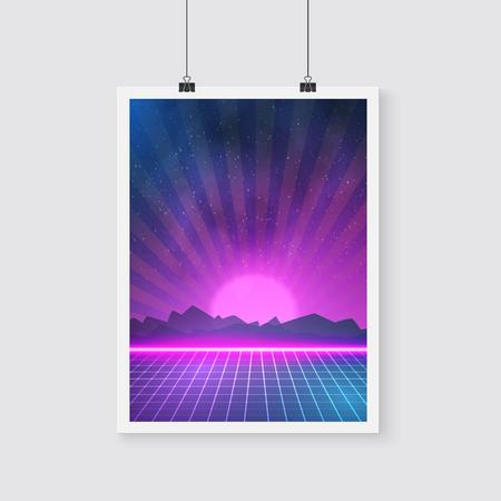 tron: Illustration of Retro Disco 80s Neon Poster made in Tron style Illustration
