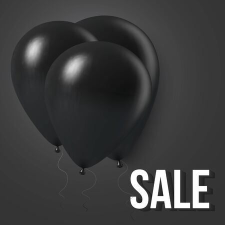 discount banner: Illustration of Black Friday Sale Vector Background Template. Black Friday Balloon Sale Background