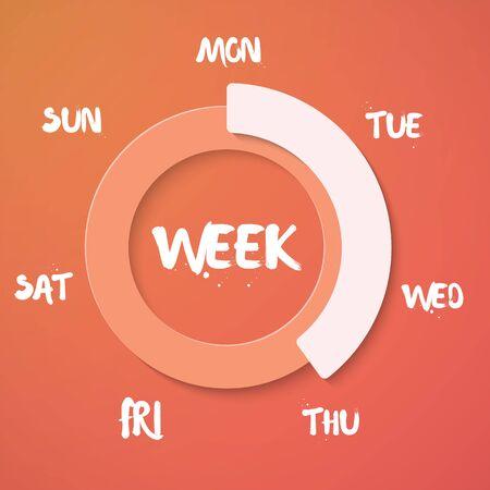 Illustration of Week Loading, Vector Weekend Countdown Background