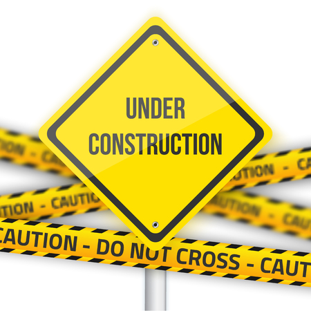 blank template: Illustration of Under Construction Vector Road Sign Background with Yellow Police Line Illustration