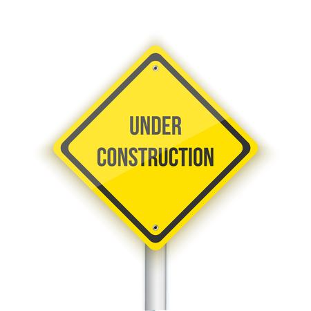 Illustration of Under Construction Vector Road Sign Background. Website Maintanance Concept Background Illustration