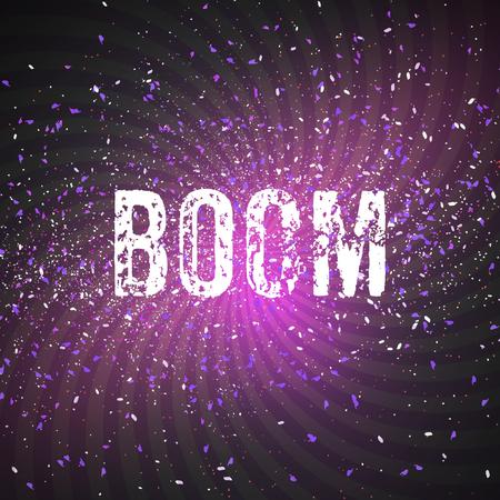 Illustration von Vektor Konfetti Explosion Effekt auf dunklen Weltraum Hintergrund. Stern Exlosion in Raum-Universum