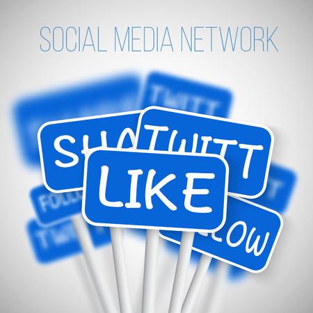 medios de informaci�n: Ilustraci�n del conjunto de la red de Social Media Las se�ales de tr�fico. incluir Enviar, Seguimiento. Para su Medios de Comunicaci�n Social de la bandera, icono, blog o Social Media Advertising.