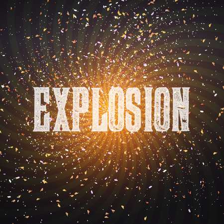 Illustration of Vector Confetti Explosion Effect on Dark Outer Space Background. Star Exlosion in Space Universe