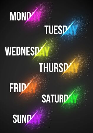 week: Illustration of Calendar Week and Days with Explosion Effect.