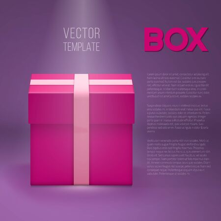 stage lights: Illustration of Vector Gift Box. Realistic 3D Vector Gift Box Under Stage Lights. Birthday Holiday Shiny Present