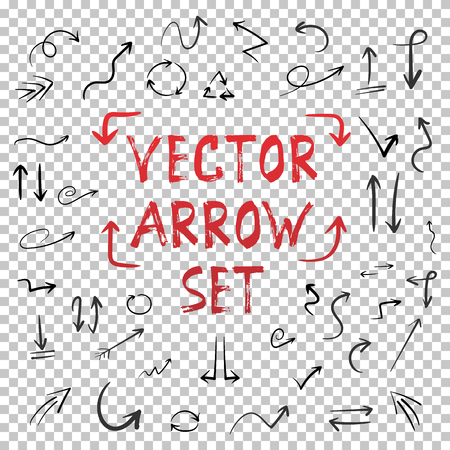 Illustration of Handdrawn Vector Handmade Arrow Set Isolated on Transparent PS Style Background. Watercolor Ink Hand Made Style Arrow Set  イラスト・ベクター素材