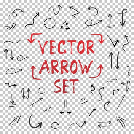 Ilustración del vector hecho a mano Handdrawn Flecha conjunto aislado sobre fondo transparente PS estilo. Acuarela tinta hecha a mano de estilo de flecha Conjunto