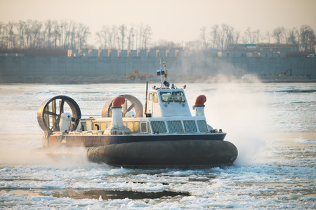 hovercraft: Photo of Russian ACV Hovercraft in Action on a frozen river.