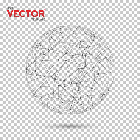 Illustration of Global Network Wireframe Globe Ball with Dots Connection Vector Background. Technology Connection Vector Concept Illustration Çizim