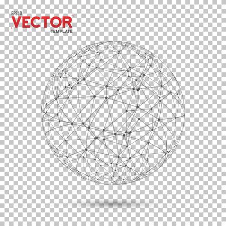 Ilustración de la Red Global Globo de estructura metálica de la bola con los puntos de conexión de vectores de fondo. Conexión de la tecnología del concepto de vector Ilustración