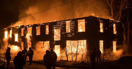 Big Old Wood House on Fire.