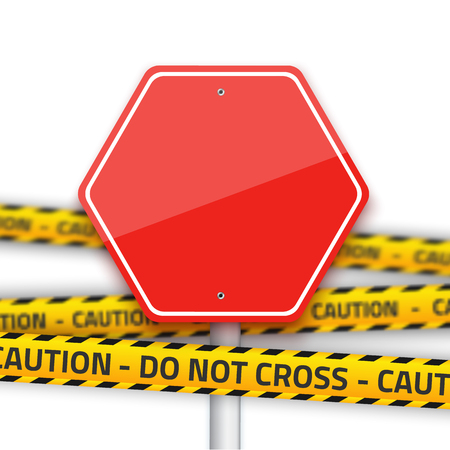 danger do not cross: Illustration of Vector Road Stop Sign with Yellow Police Strip. Realistic Vector Isolated Road Sign