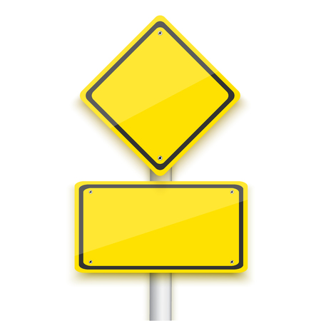 Illustration of Vector Road Yellow Sign. Realistic Vector Isolated Road Sign