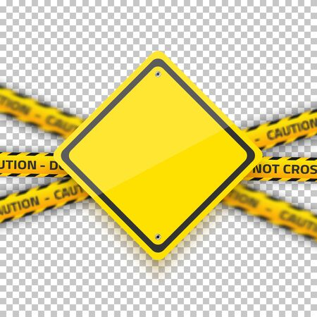 danger do not cross: Illustration of Vector Road Yellow Sign with Yellow Police Strip. Realistic Vector Isolated Road Sign