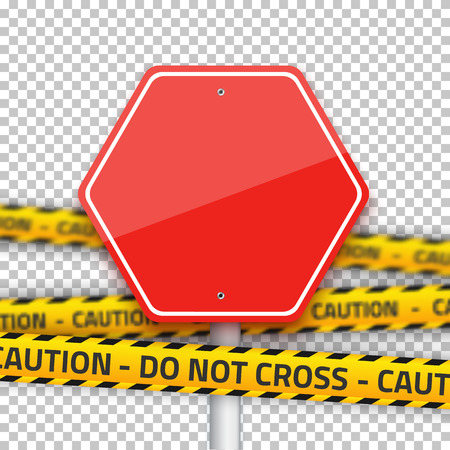 danger do not cross: Illustration of Road Stop Sign with Yellow Police Strip.