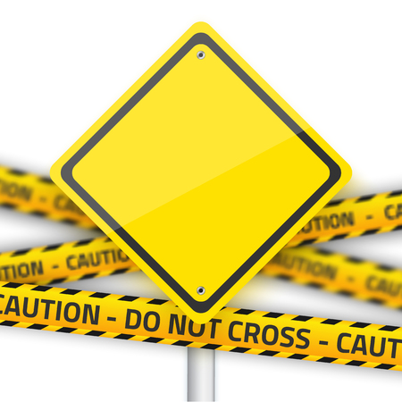 danger do not cross: Illustration of Road Yellow Sign with Yellow Police Strip.