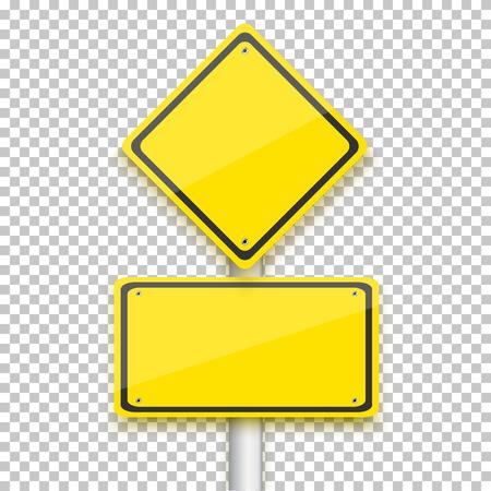 Ilustracja wektorowa żółty znak drogowy