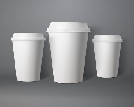 take out food container: Photo-realistic 3D paper Coffee Cup Mock-up Set