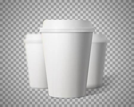 Fotorrealista 3D de papel taza de café Mock-up Conjunto