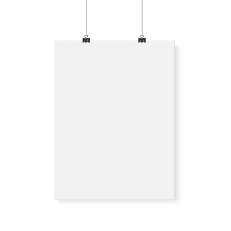 Illustration of Isolated Vector Poster Mockup. Realistic Paper Vertical Poster Isolated on White Background Çizim