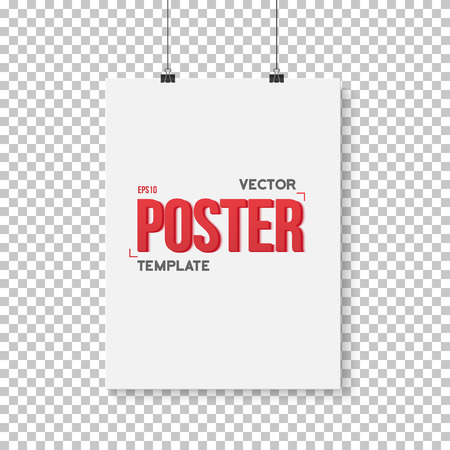 ps: Illustration of Vector Poster Mockup. Realistic  Paper Vertical Poster Isolated on PS Style Transparent Background