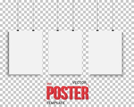 Illustration of Vector Poster Mockup Set. Realistic  Paper Poster Set Isolated on PS Style Transparent Background