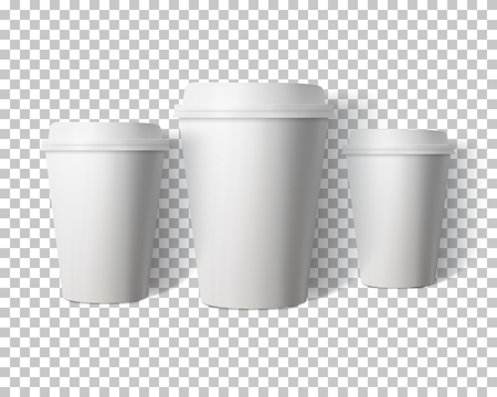 ps: Illustration of Vector Coffee Cup Set Isolated on Transparent PS Style Background. Photorealistic 3D Vector Paper Coffee Cup Mockup Set Illustration