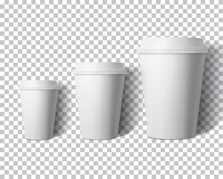 Illustration Vektor Kaffeetasse Set Isoliert auf Transparent PS-Stil Hintergrund. Fotorealistische 3D-Vektor Paper Coffee Cup Mockup Set