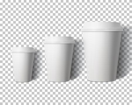 Ilustracja wektor zestaw filiżanek kawy na białym tle na tle stylu Ps przezroczyste. Fotorealistyczny zestaw makiety papierowych filiżanek do kawy w wektorze 3D