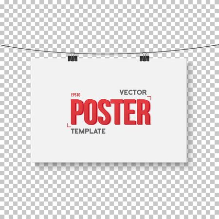 ps: Illustration of Vector Poster Mockup. Realistic Vector EPS10 Paper Horisontal Poster on Bended Wire Isolated on PS Style Transparent Background