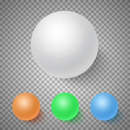 Illustration of Photorealistic Vector 3D Ball Set Template. Bright Colors Vector Ball Set Isolated on Transparent PS Style Background Illustration