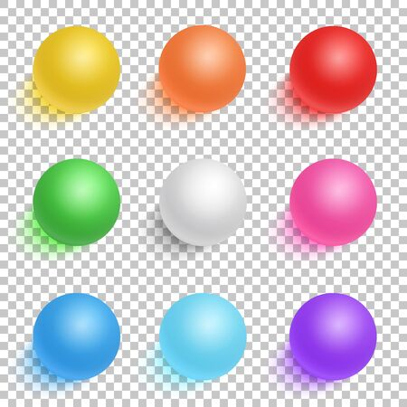 ps: Illustration of Photorealistic Vector 3D Ball Set Template. Bright Colors Vector Ball Set Isolated on Transparent PS Style Background Illustration