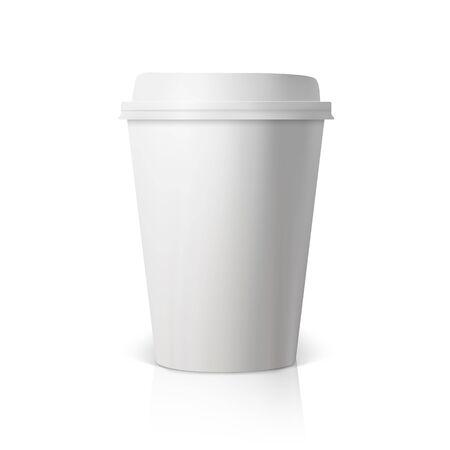 Ilustración del vector taza de café aislada sobre fondo blanco. Papel 3D fotorrealista la taza de café Prototipo