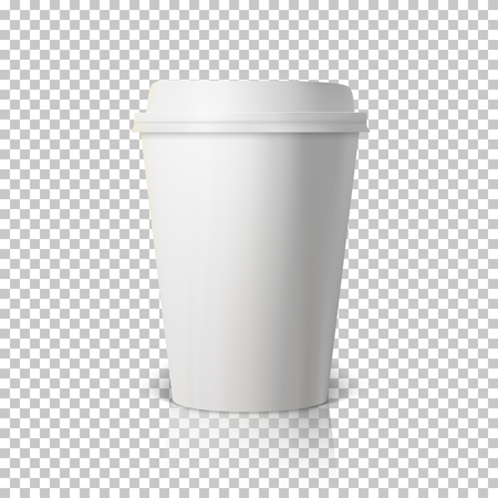 ps: Illustration of Vector Coffee Cup Isolated on Transparent PS Style Background. Photorealistic 3D Vector Paper Coffee Cup Mockup